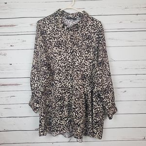 Zara Button Up Cheetah Long Blouse